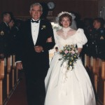 Charlie and Anna, walking the aisle, 1990