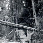 Building bridge to A Frame, Sitka, fall of 1967