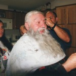 Getting haircut, Christmas, 1999