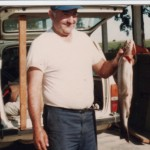 With 28 inch trout caught at Oxbow dam, 1982